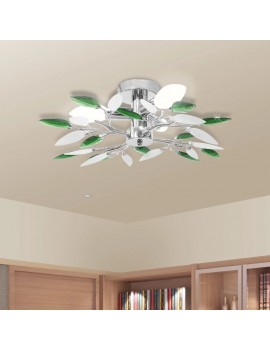 Ceiling lamp shaped leaves, white acrylic glass and green