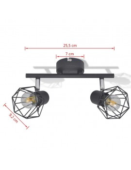 Ceiling spotlight industry-style wire frame + 2 LED lamps black