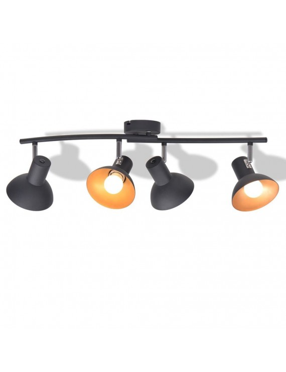 Ceiling Lamp for 4 Bulbs E27 Black and Gold
