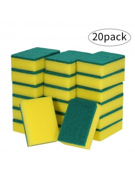 20pcs Multi-purpose Double-faced Sponge Scouring Pads Dish Washing Scrub Sponge Stains Removing Cleaning Scrubber Brush for Kitchen Garage Bathroom