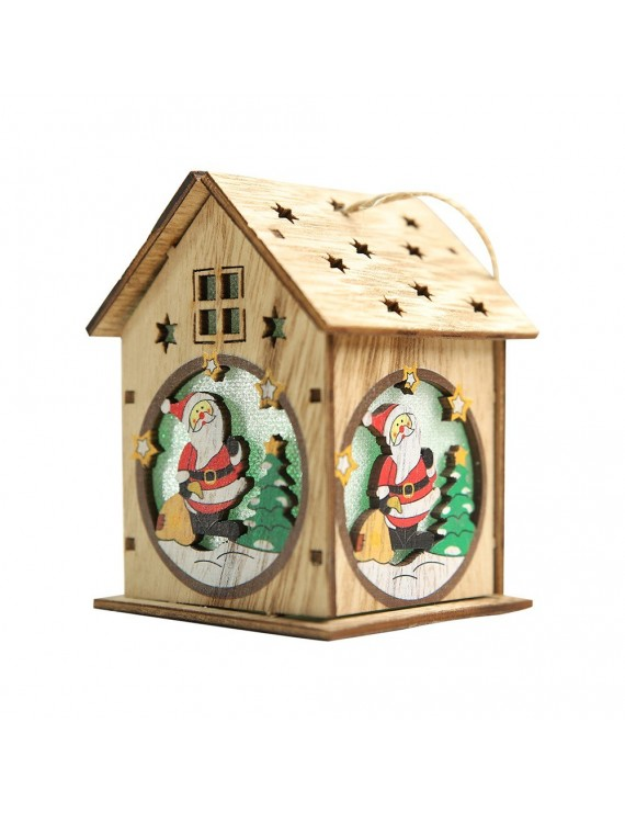 Christmas Luminous Wooden House with Colorful LEDs Light DIY Wood Chalet Christmas Tree Hanging Ornaments Xmas Festival Holiday Decorations Gifts