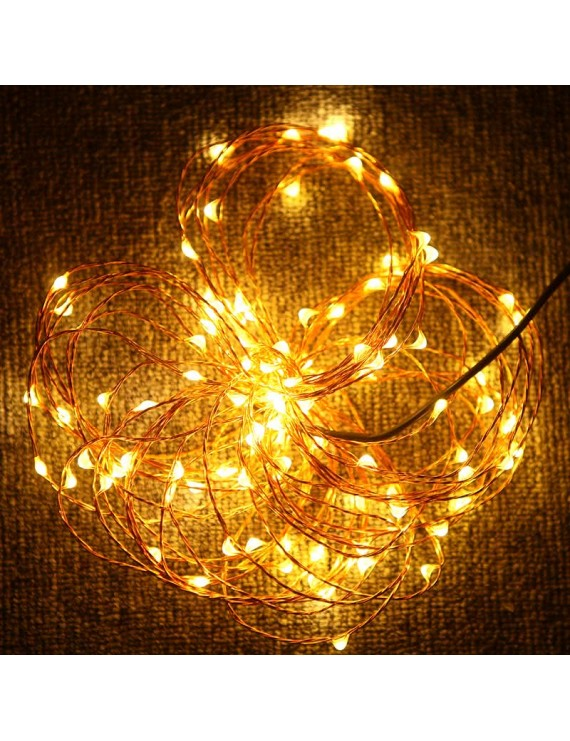 10m 100-LED String Light Lamp Decoration Lighting Copper for Christmas Party Wedding 12V Warm White