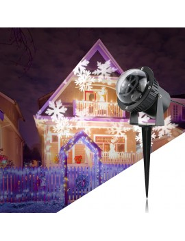 3W 4LED Rotating Moving White Snowflake Film Projector Light Outdoor IP44 Water Resistant Pattern Decoration Lamp for Christmas Xmas Landscape Lawn Garden Party Wedding