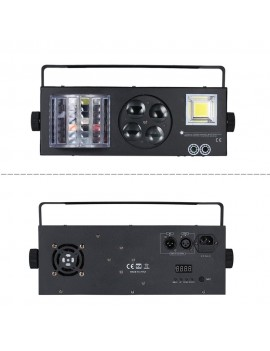 AC110-220V 60W 4 in 1 Pattern/ Laser/ Strobe/ Magic Ball Stage Light Lighting Fixture with Remote Control 9 Channels Supported Auto-run/ DMX512/ Sound Activated for Home Party Halloween Christmas Xmas Festival Decoration Bar Club Pub DJ Show