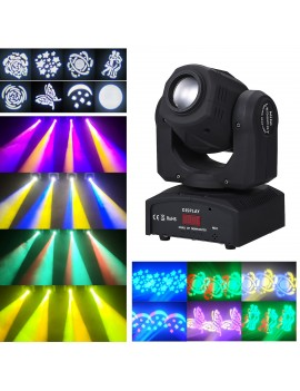 90W LEDs Heads Moving Stage Light DMX512 Master-slave Sound Activated Auto-run 9/11 Channels Rotating 8 Patterns 14 Colors Changing Stage Lamp for DJ Disco Club Wedding Party Dance Bar Lighting