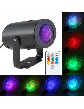 9W Mini RGB Water Wave Ripple Effect LED Stage Light  Speed Adjustable 7 Colors  Lamp with IR Remote Support Static Color Auto-run RGB Flash for KTV Party Club Disco Pub Bar Banquet School Show Home Entertainment