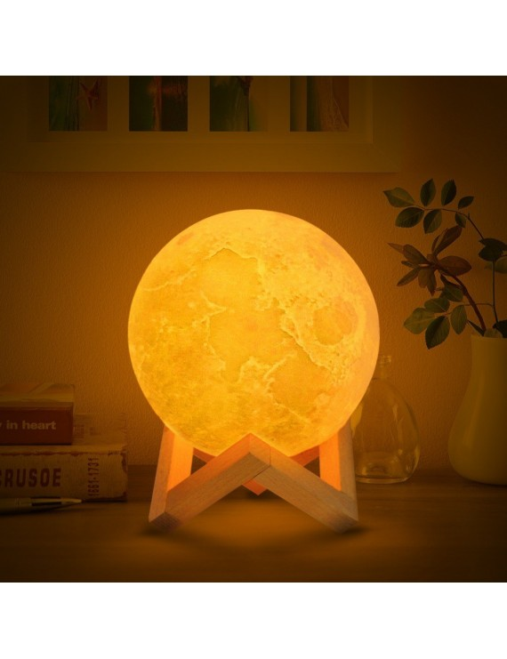 3D Printing Moon Light Bedroom Decor with Wooden Stand--9cm