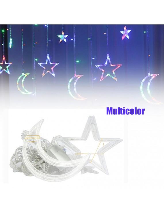 Curtain Lamp Christmas Moon Star Curtain Lights Decorative Lights 220V Light Decoration