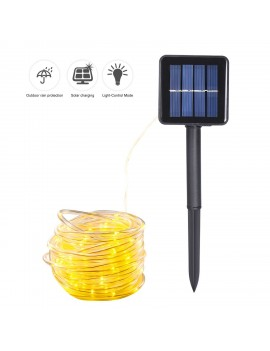 Energy Saving Solar Tube String Light 22M 200 Lamp Bead 8 Functions Transparent Pipe Copper Wire Outdoor Waterproof Decoration String Light