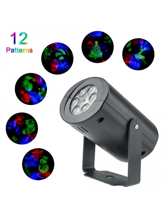 AC85V-265V LEDs 12Patterns Projector Light RGB Effect Stage Atmosphere Lamp for Christmas Halloween Holiday Party Home Decor Decoration