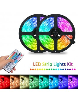Tomshine 2x5m 300leds RGB Strip Lights Kit with 44 Keys IR Remote Controller Dimmable Color Changing Rope Lights IP65 Water-resistant for Home Kitchen Christmas Decorations