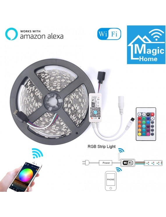 5M Smart WIFI Control Color Changing LED 5050 RGB Light Strips Compatible with Amazon Alexa Sync to Music for Rooms Party Bar Decoration Nonwaterproof