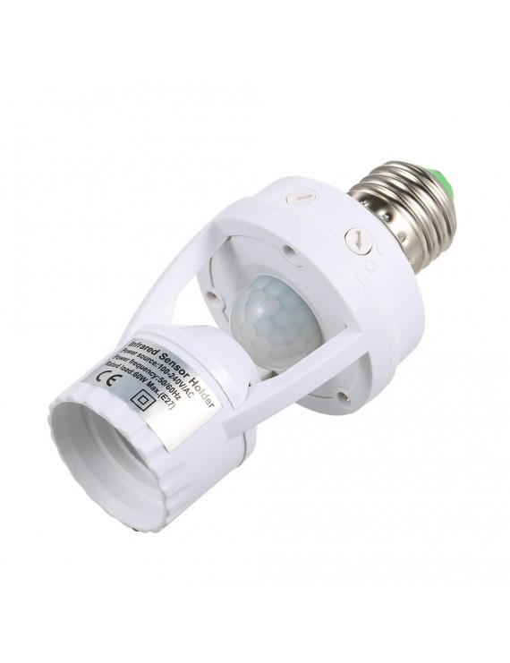 Sensitive PIR Motion Sensor E27 LED Bulb Base Socket Infrafed Automatic  Light Lamp Holder Switch for Walk-in Closet Laundry Room Garage Bathroom Aisle Stair