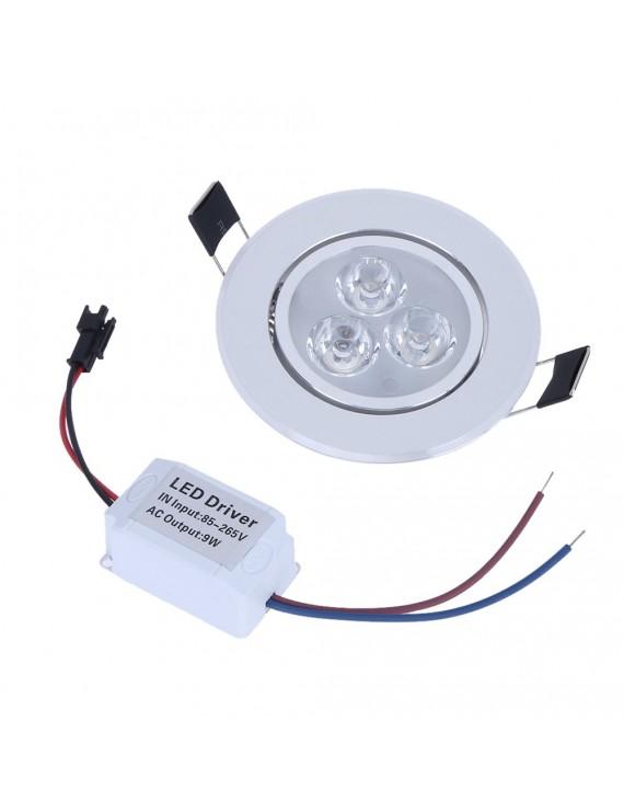 9W LED Downlight Ceiling Lamp Spot Light Recessed AC85-265V Lamp + LED Driver for Home Illumination (White)